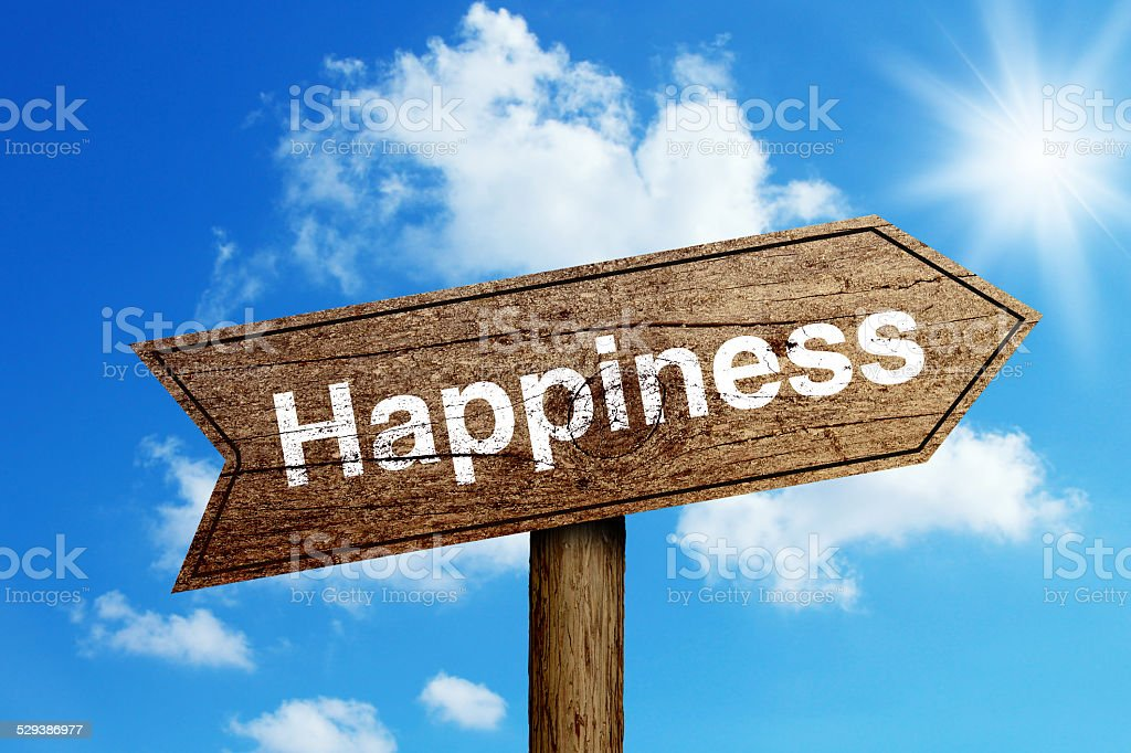 Happiness Road Sign stock photo