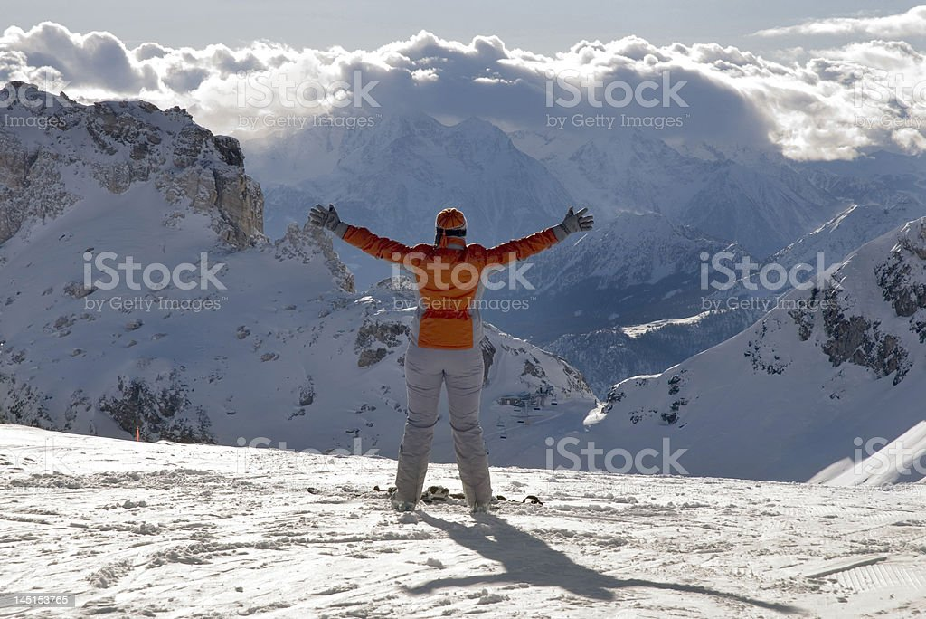 Happiness skier royalty-free stock photo