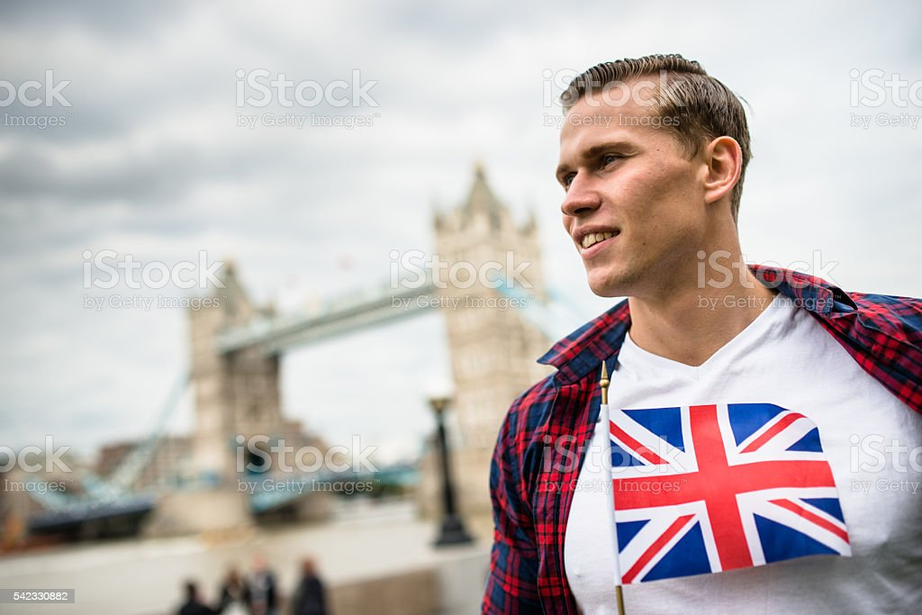 happiness tourist in london with uk flag stock photo