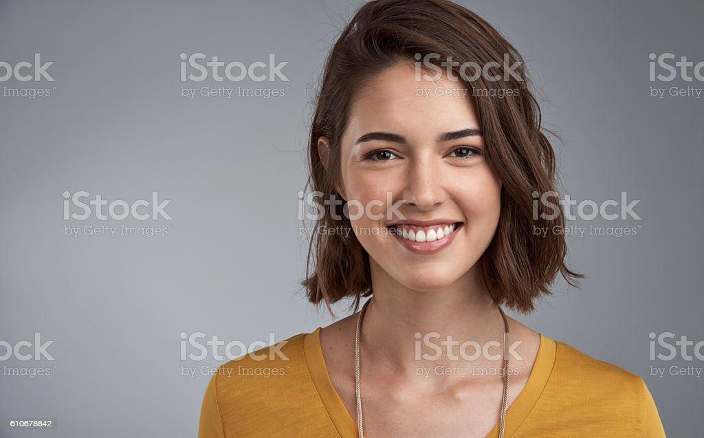 Happiness translates into beauty stock photo