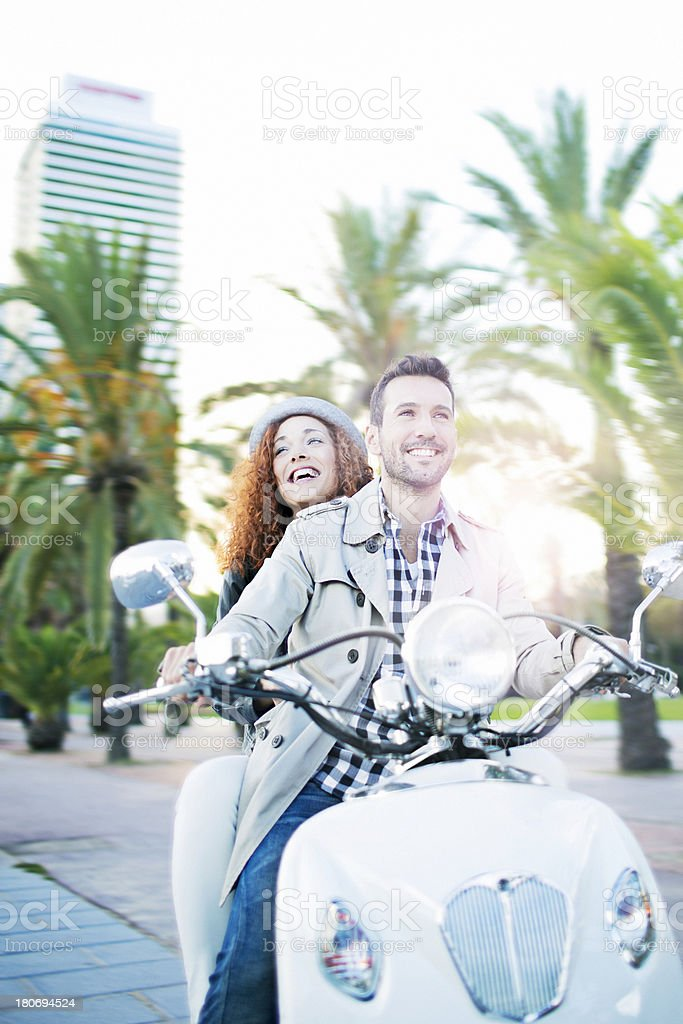 Happiness with their motorbike royalty-free stock photo