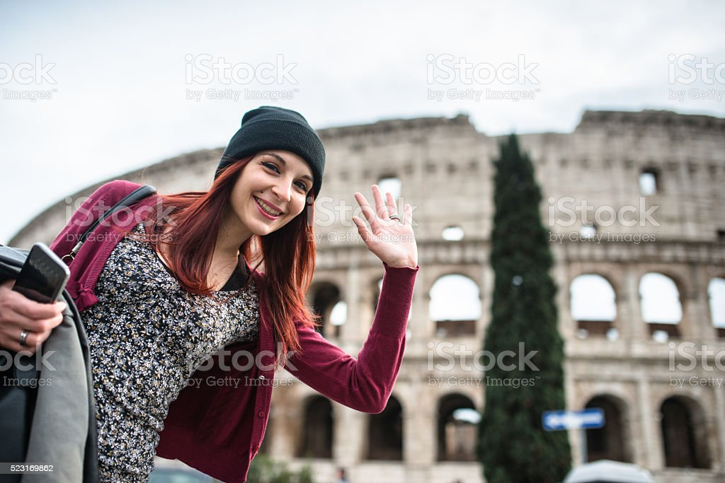 happiness woman in rome stock photo