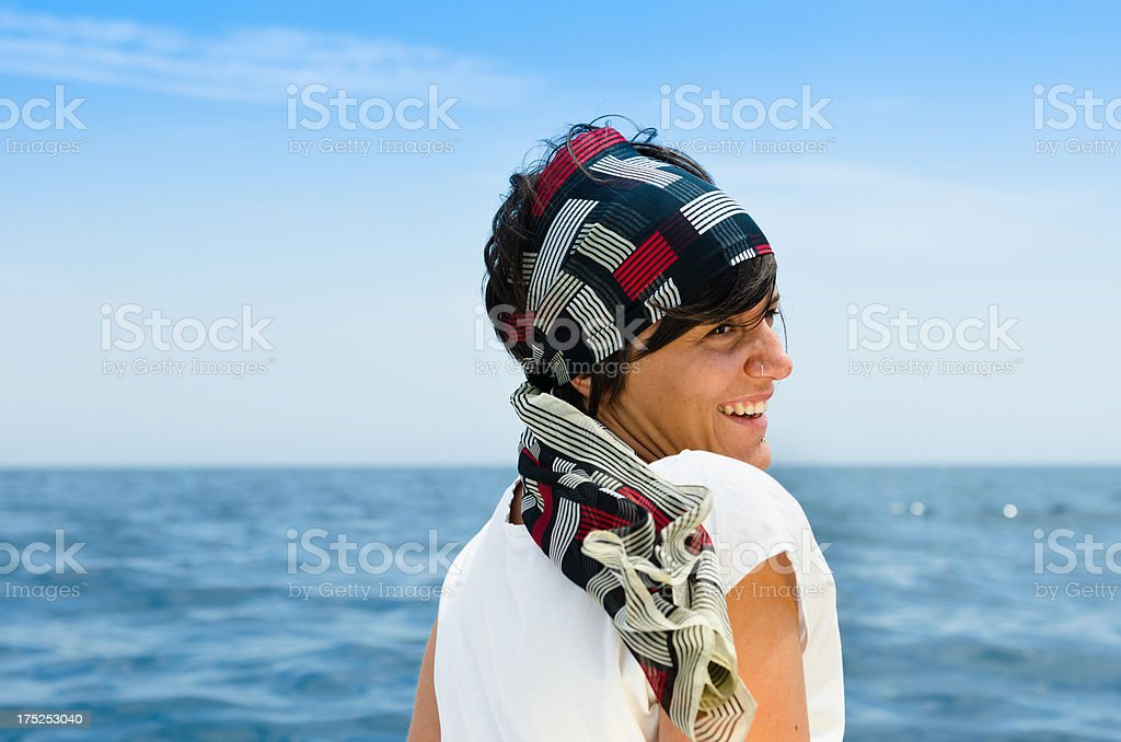 Happiness young adult woman on the seaboat royalty-free stock photo