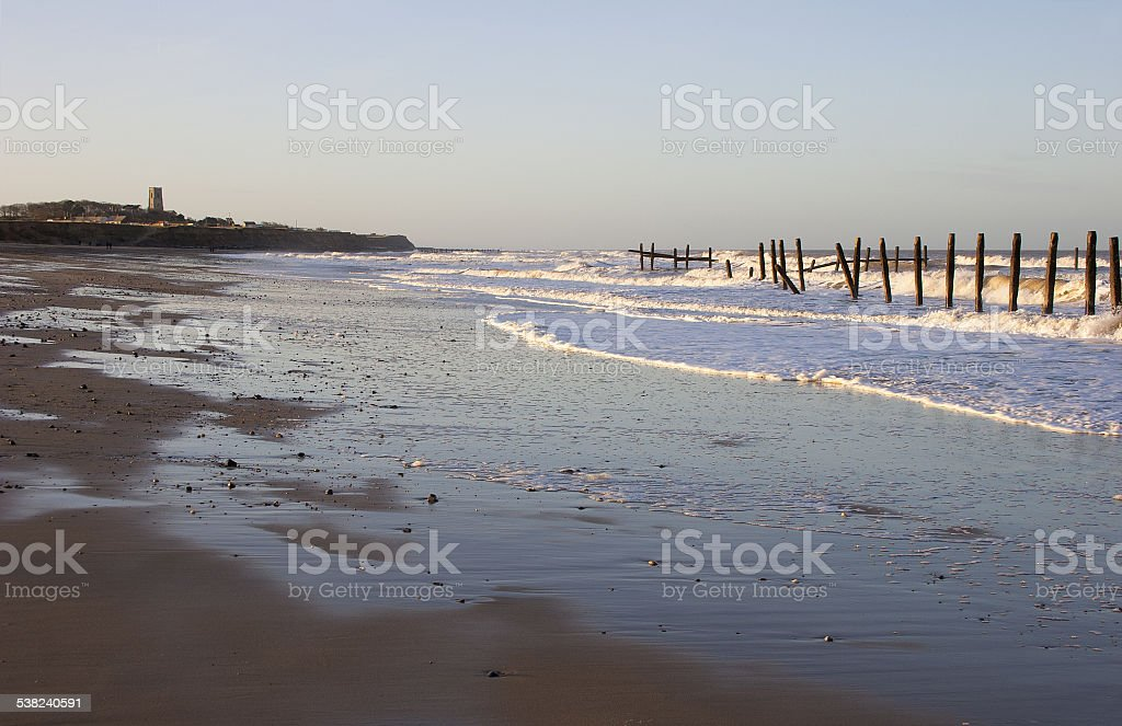 Happisburgh beach, Norfolk, UK stock photo