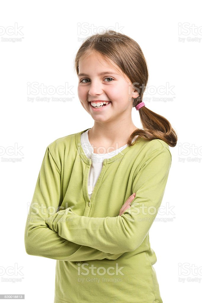 happy 11 years old girl stock photo