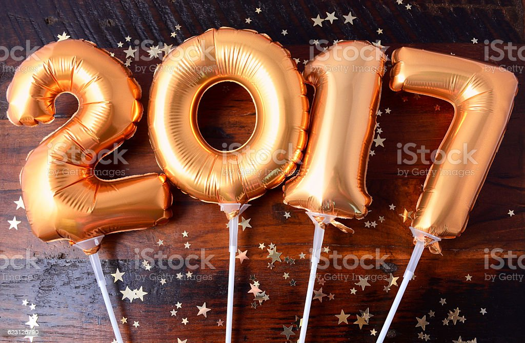 Happy 2017 gold New Year Balloon stock photo