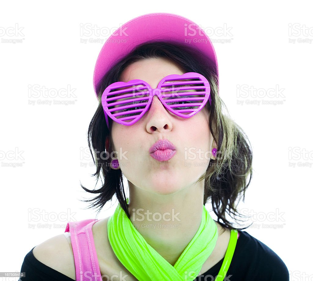 Happy 80's Disco Teen Puckering royalty-free stock photo