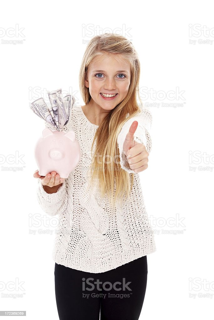 Happy about her savings royalty-free stock photo