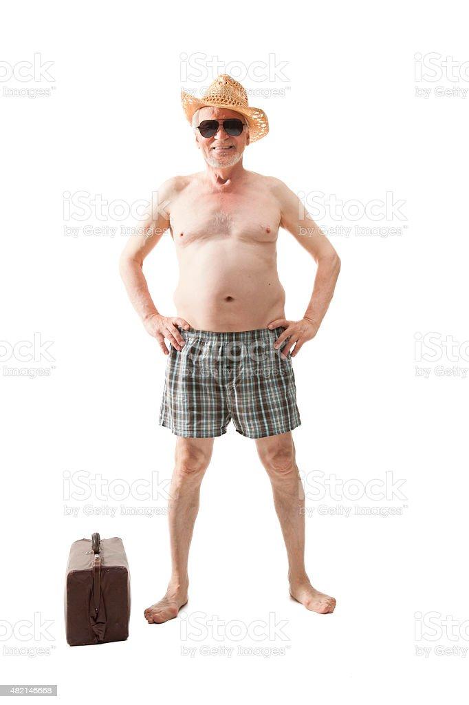 Happy active elderly man stock photo