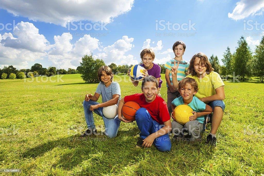 Happy active kids stock photo