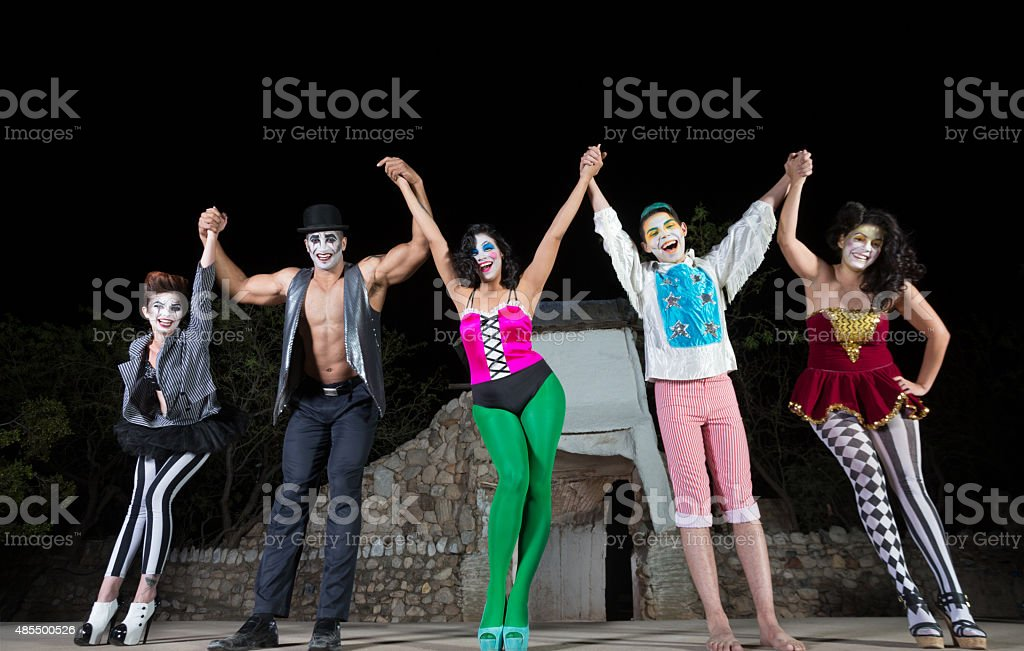 Happy Actors Celebrating stock photo