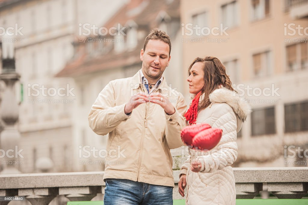 Happy adult couple on a Valentine`s day stock photo