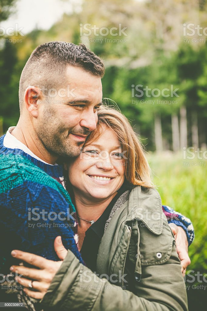 Happy Adult Couple Outdoors stock photo