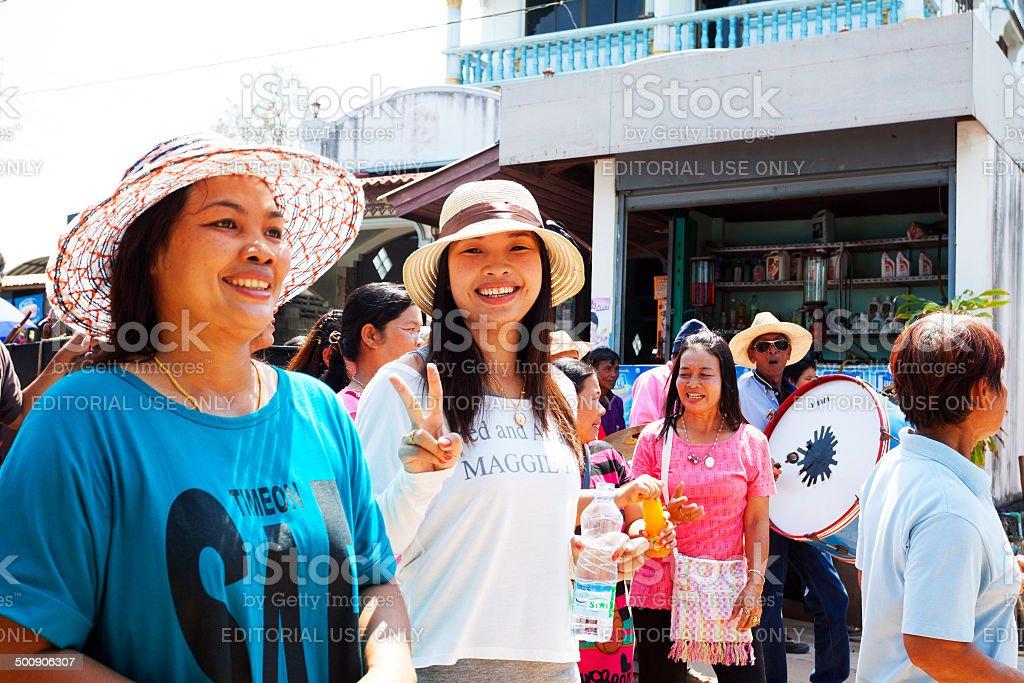 Happy adult Thai women stock photo