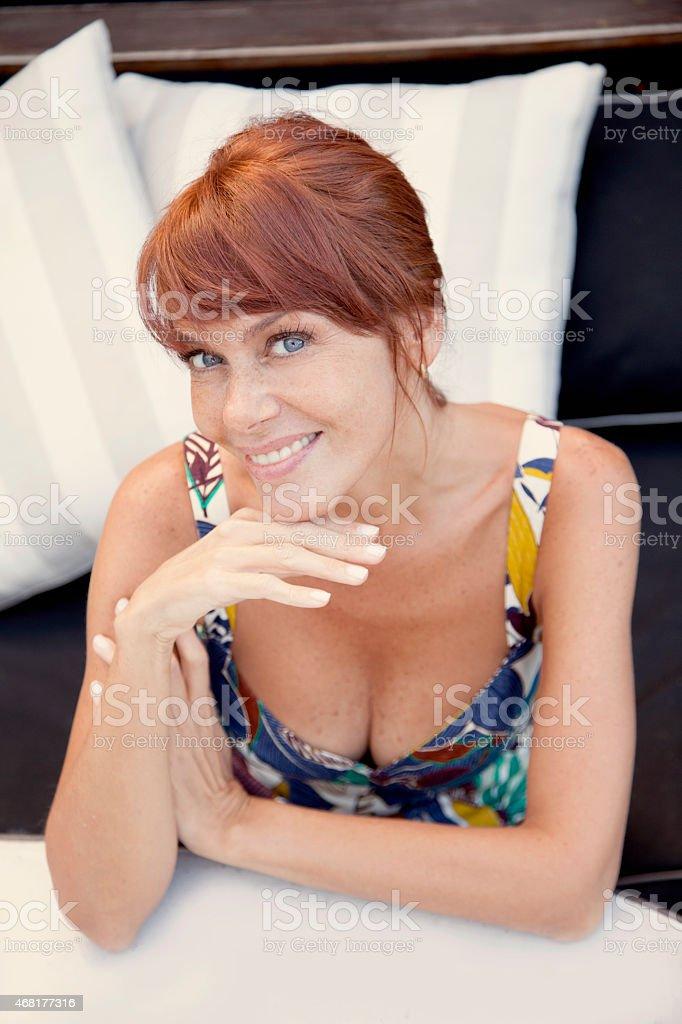 Happy adult woman portrait stock photo