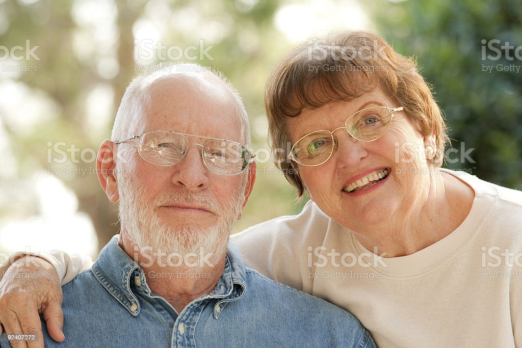 Happy Affectionate Smiling Senior Couple royalty-free stock photo