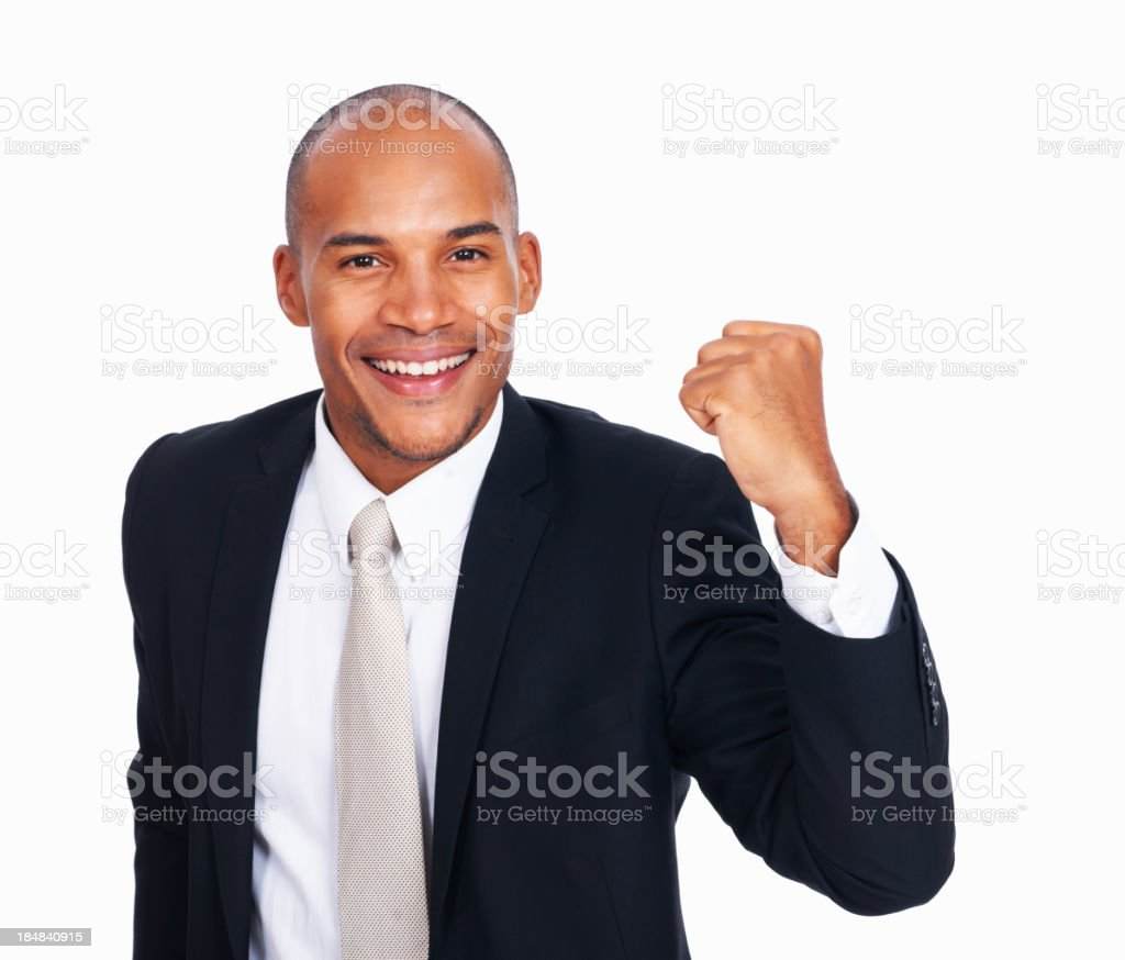 Happy African American business man celebrating success royalty-free stock photo