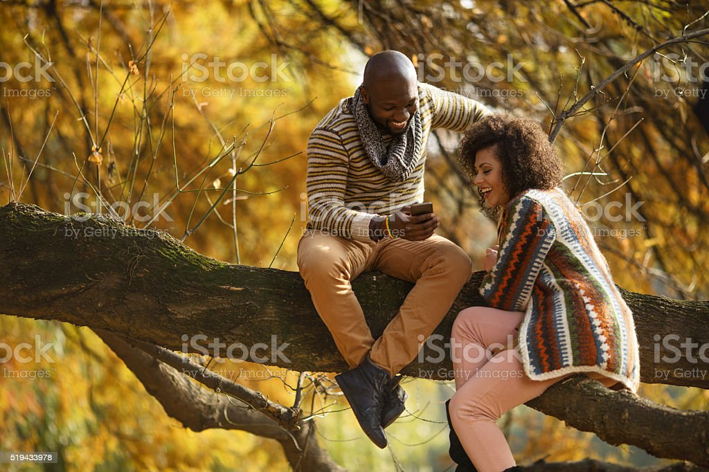 Happy African American couple using cell phone in nature. stock photo