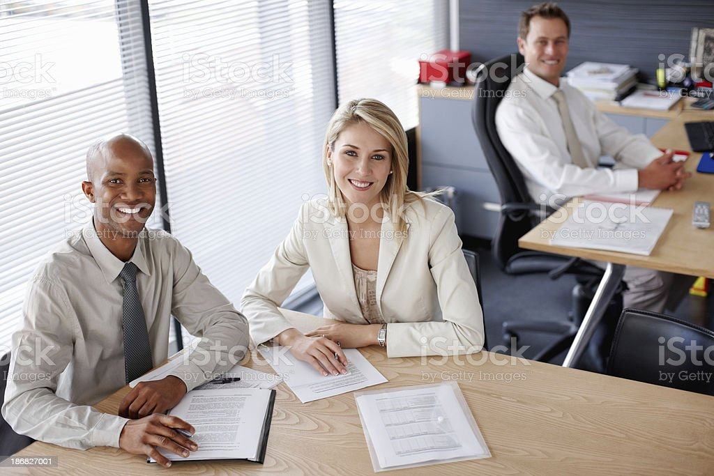 Happy African American executive with Caucasian colleague royalty-free stock photo