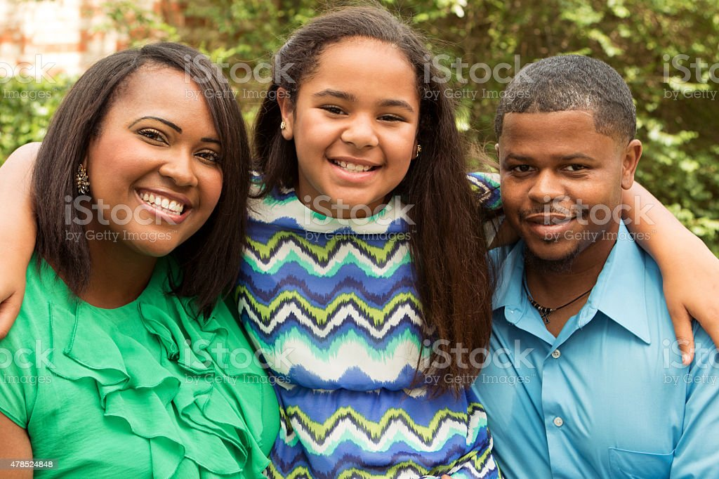 Happy African American Family stock photo