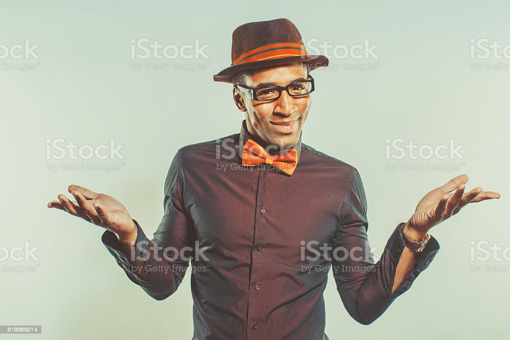 Happy African American Male  Wearing Hat stock photo
