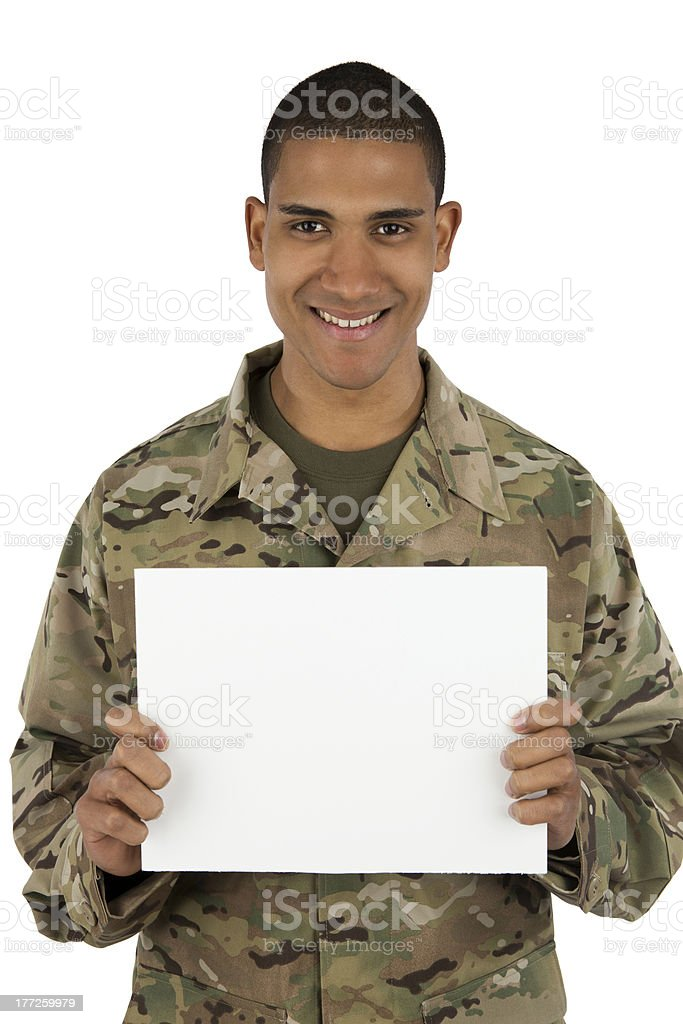 Happy African American Service holding blank sign stock photo