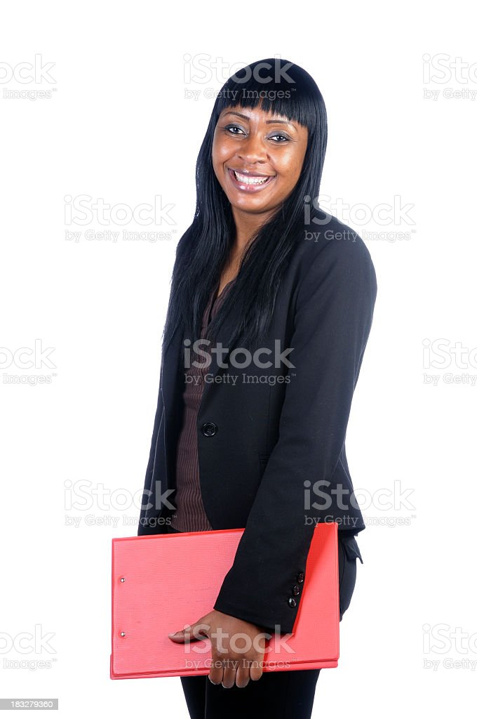 Happy African American Woman Holding A Red Clip Board stock photo