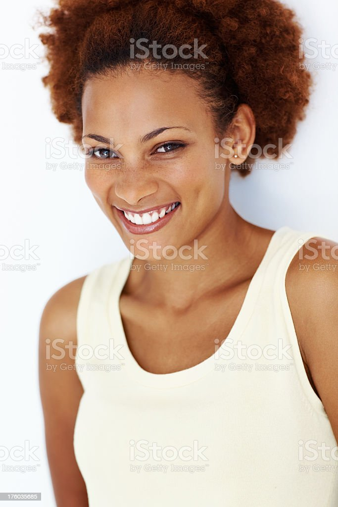 Happy African American woman stock photo