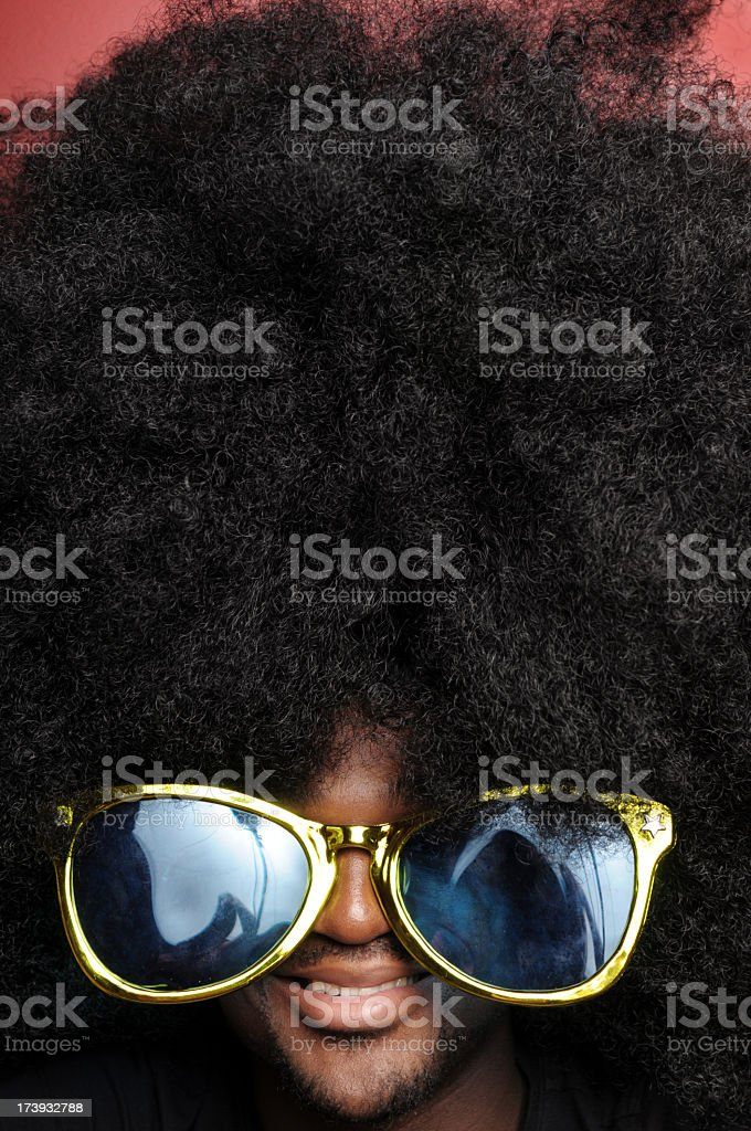 Happy Afro Man with Sunglasses royalty-free stock photo