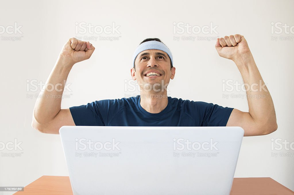 happy after winning a sports bet royalty-free stock photo
