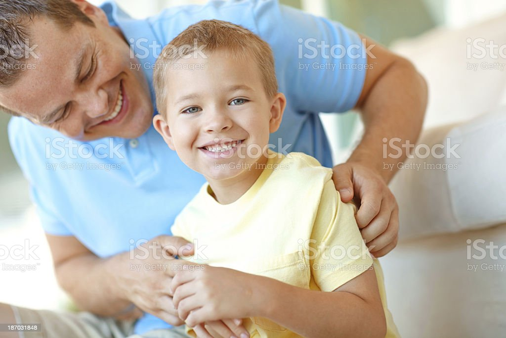 Happy afternoons spent with dad royalty-free stock photo