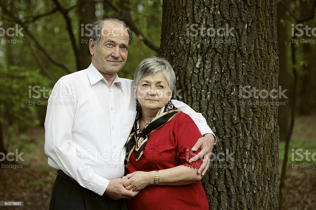 happy aged couple outdoors royalty-free stock photo