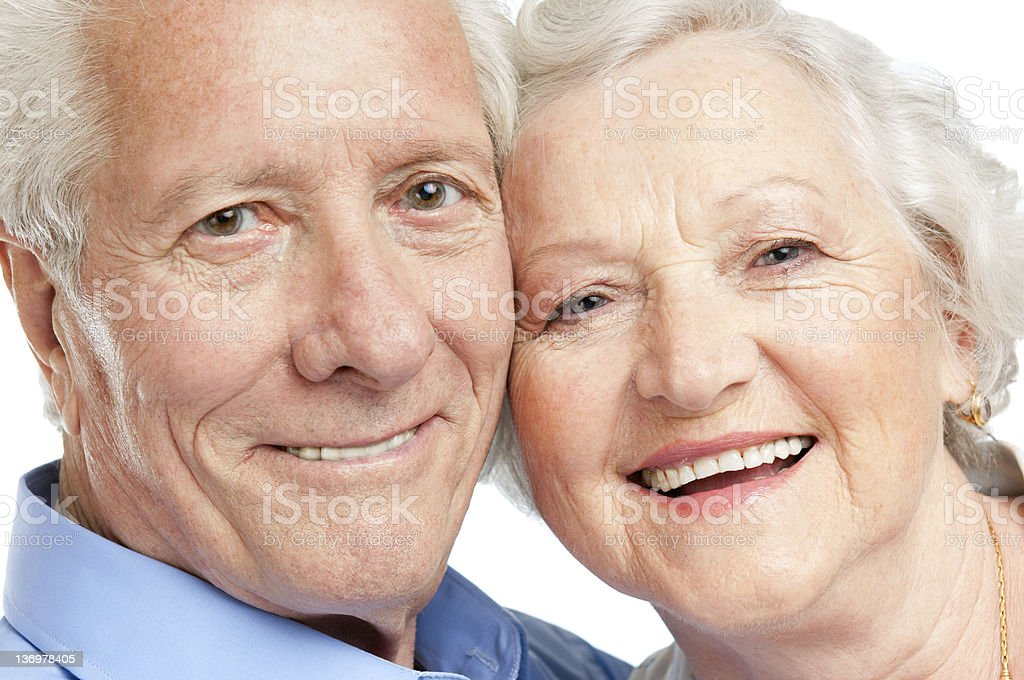 Happy aged couple portrait royalty-free stock photo