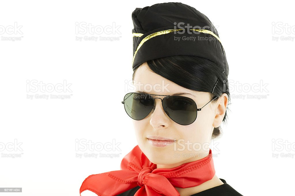 Happy Air Hostess with Aviators royalty-free stock photo