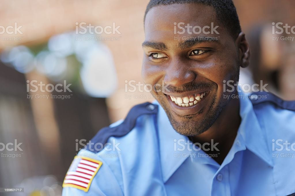 Happy American Security Officer stock photo