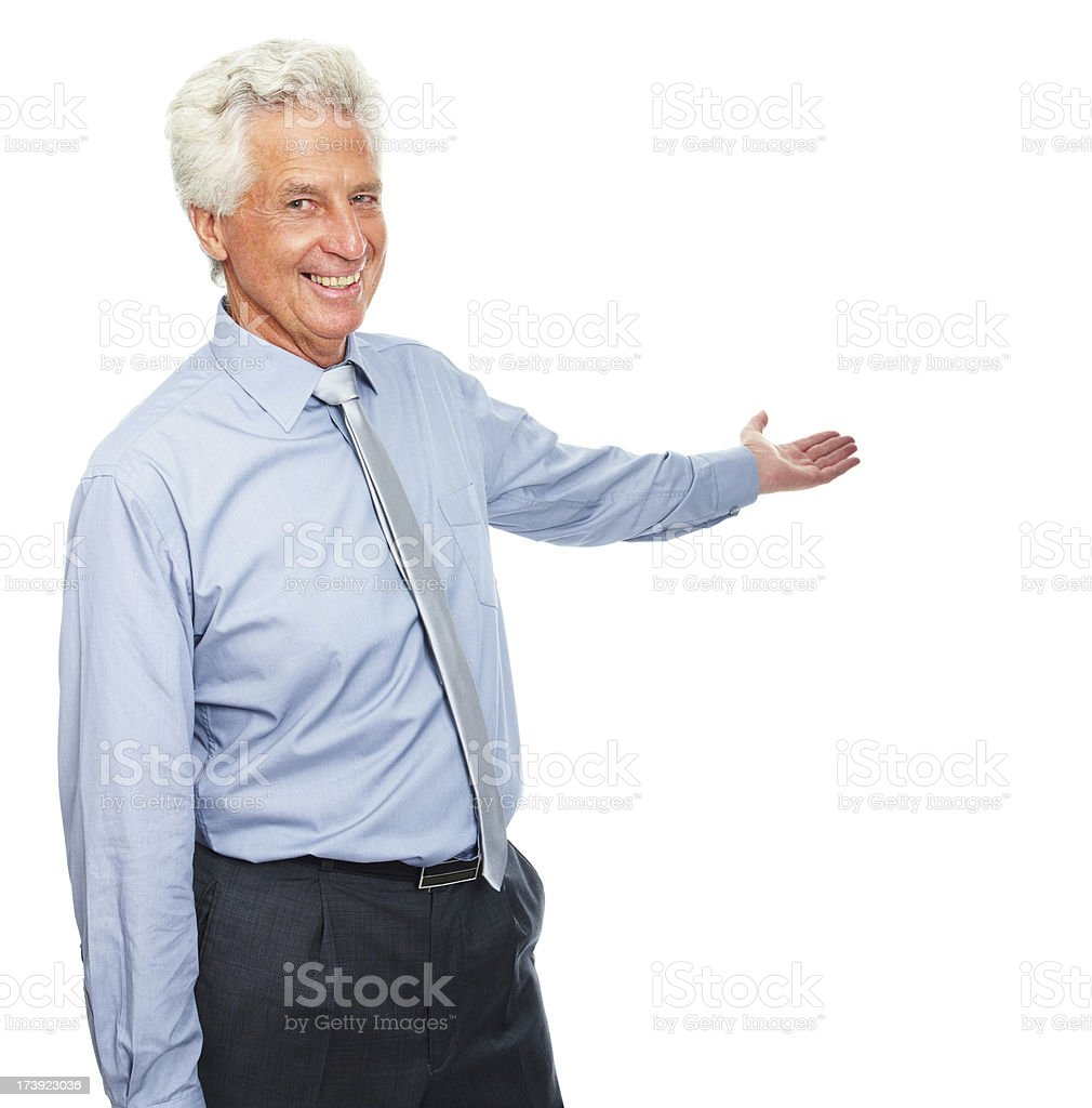 Happy and cheerful senior business man with one hand raised royalty-free stock photo
