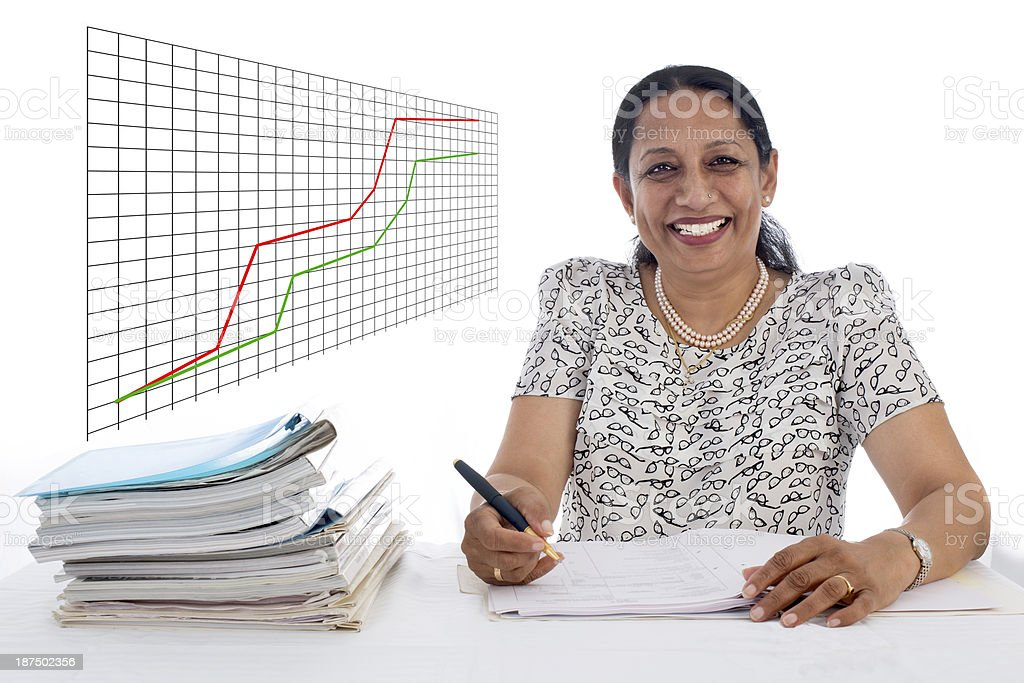 Happy and confident Business Woman with a Financial growth curve stock photo