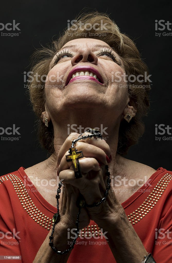 A happy and joyous facial expression while looking up. royalty-free stock photo