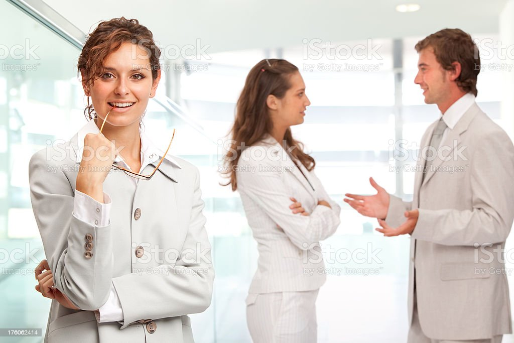 happy and positive business team bright portrait stock photo