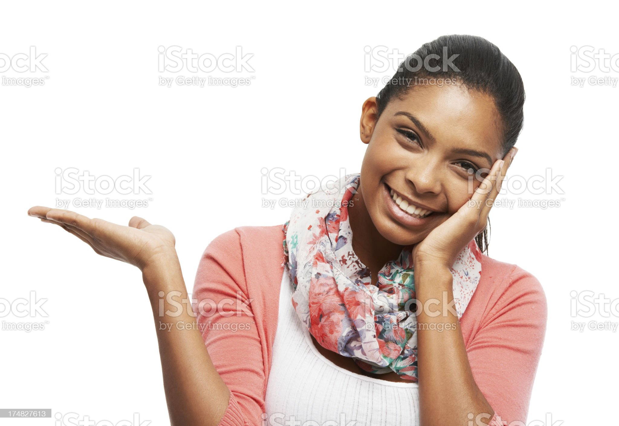Happy and relaxed with copyspace in hand royalty-free stock photo