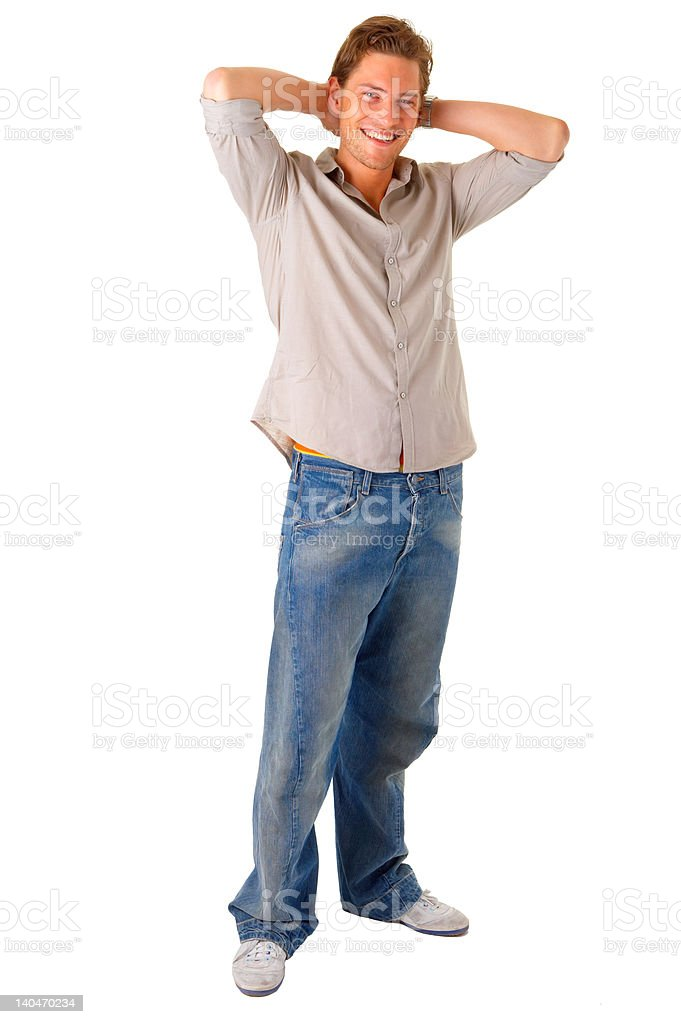 Happy and satisfied young man royalty-free stock photo