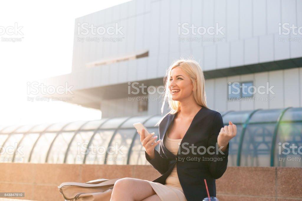 Happy and smiling businesswoman portrait. stock photo