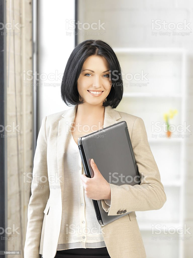 happy and smiling teenage girl with laptop royalty-free stock photo