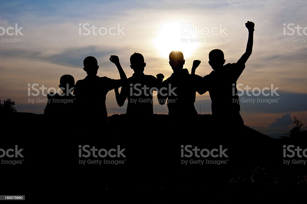 Happy and victory together royalty-free stock photo