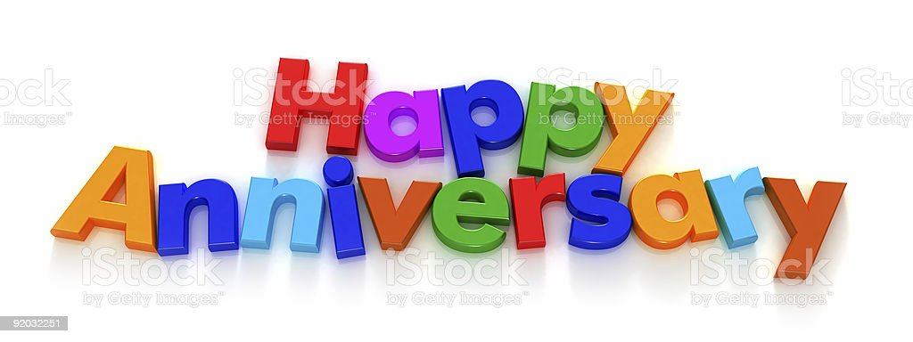 Happy Anniversary in colourful letter magnets stock photo