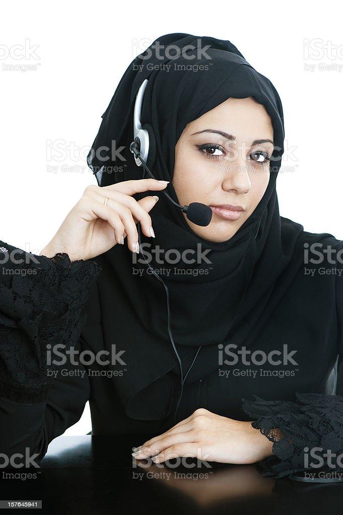 Happy Arabic customer service girl royalty-free stock photo