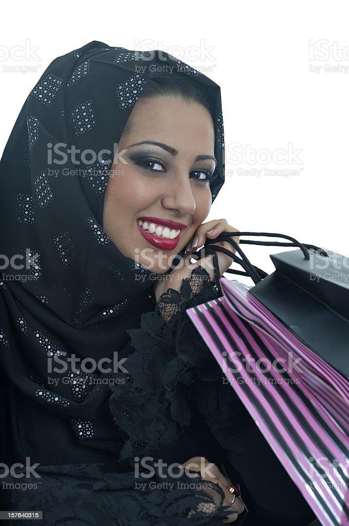 Happy Arabic girl shopping royalty-free stock photo