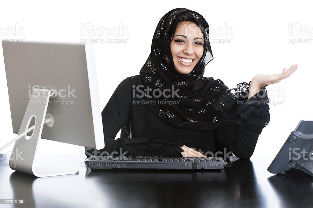Happy Arabic office girl royalty-free stock photo