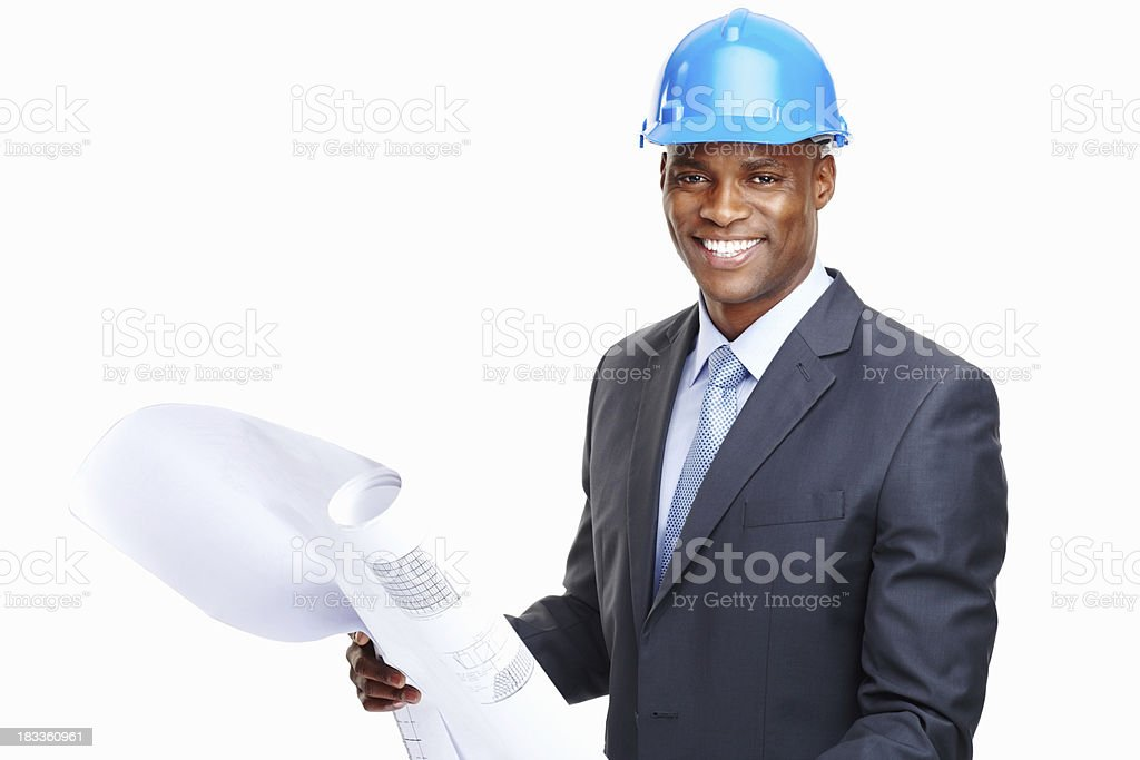 Happy architect looking over blueprints of project royalty-free stock photo