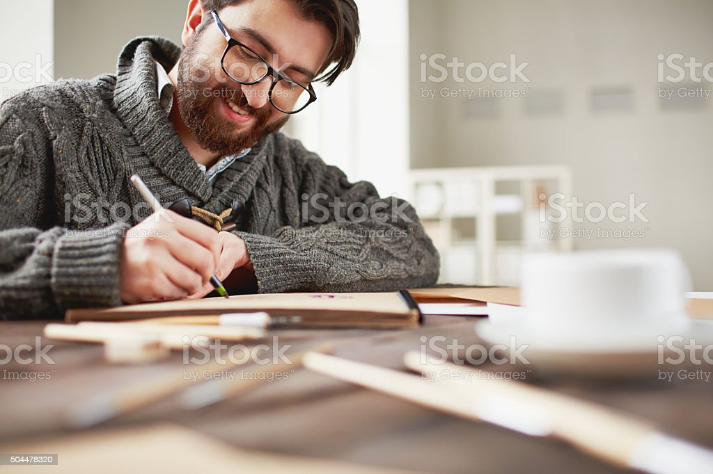 Happy artist stock photo